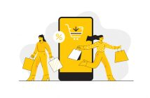 illustration of shoppers and mobile phone